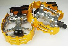 "Old school BMX XC-II Wellgo bear trap pedals 1/2"" (FOR ONE PIECE CRANKS) GOLD"