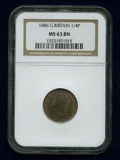 ENGLAND VICTORIA 1886 FARTHING CHOICE UNCIRCULATED, CERTIFIED NGC MS63-BN