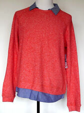 NWT NEW Tommy Hilfiger Light Red French Terry & Blue Chambray Sweater/Shirt XL