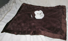 KIDSLINE BROWN MONKEY BABY SECURITY BLANKET LOVEY SATIN SILK FURRY FLUFFY SOFT
