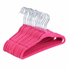 10PC Slim Space Saving Non-slip Velvet Velour Pink Hangers 17.7""