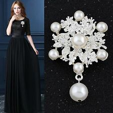Vintage Silver Crystal Rhinestone Pearl Wedding Bridal Flower Brooch Pin Bouquet