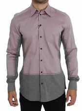 NWT $420 DOLCE & GABBANA Red Gray GOLD Slim Fit Casual Mens Shirt s. 40 / M