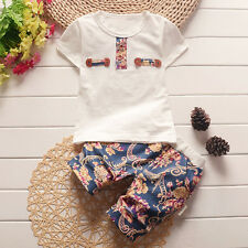 2pc Newborn Infant Kids Baby Boys Cotton T-shirt tops+Floral shorts Clothes Sets