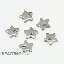 20pcs 304 Stainless Steel Five-pointed Star Charms DIY Jewellery Craft 6x6x1mm