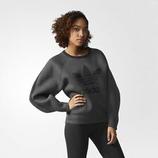 140$ ADIDAS ORIGINALS bonded crew SWEATSHIRT Grey AB0559 WOMEN S jacket sweater