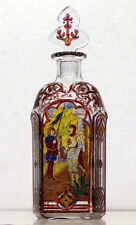 ANTIQUE Vintage HOLY WATER Catholic Priest ENAMELED GLASS BOTTLE / Perfume Scent