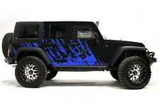 Vinyl Decal Mud Burst Wrap Kit for Jeep Wrangler Rubicon 2007-2016 Azure Blue