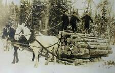 Vintage Horse Logging, Loggers in snow copy of old photo