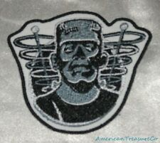 Embroidered Retro Halloween Frankenstein B&W Movie Monster Patch Iron On Sew USA