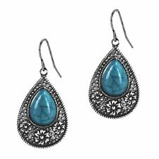 Claires Antiqued Silver Turquoise Dangle Drop Earrings