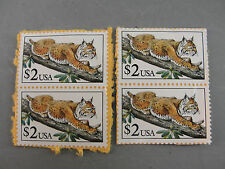 BIG CAT BOBCAT TREE US POSTAGE STAMP 2482 UNCANCELLED UNUSED $2 USA LOT 4 1990
