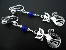 A PAIR OF TIBETAN SILVER & BLUE CRYSTAL BEAD  CAT  CLIP ON EARRINGS. NEW.