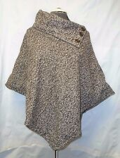 Last Kiss Brown/White Tweed 3-Button Knit Poncho L/Large S/O NWOT