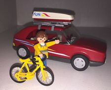 Playmobil 3237 Red Family Vacation Leisure Car 2 Bike Stands Yellow Bicycle 1986