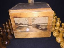 Antique W. C. HORN Bro. & Co. CHESSMEN Set In Dovetailed Box