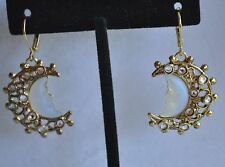 KIRKS FOLLY  CRESCENT SEAVIEW MOON EARRINGS IN GOLD TONE