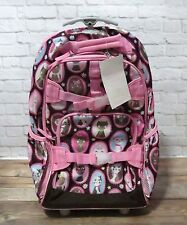 Pottery Barn Kids Rolling Backpack girls CHOCOLATE brown & PINK Kitty Cat *flaw