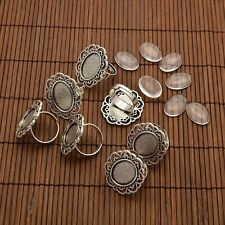 10 sets 13x18mm Oval Glass Cabochons and Flower Finger Ring Bezel Settings DIY