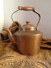Vintage Copper Tea Kettle / Tea Pot with Wood Handle Made in Portugal