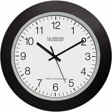 La Crosse 10 Inch Atomic Analog Indoor Wall Clock Black