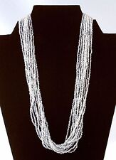 Elegant Chunky Multi Strand Clear Glass Seed Bead Necklace 20""