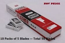 50 FEATHER Hi-Stainless Platinum Double Edge Razor Blades 5's Made in Japan.