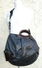MARNI Balloon Style INK BLUE CROSS BODY LEATHER BAG Brown Trim