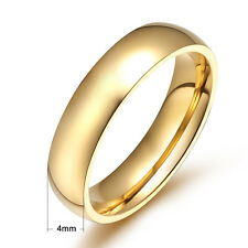 4mm Titanium Steel Rings Smooth Band Gold Unisex Size 5/6/7/8/9/10/11/12 Wedding