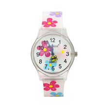 Children Girl's  Waterproof Watch Round Dial Analog Flowers Resins Wristwatch