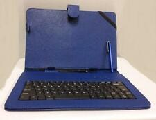 "10.1"" Case with Micro USB Keyboard Stylus for Android Tablet PU Leather Blue"