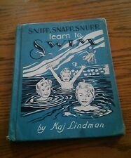 039 VTG Snipp Snapp Snurr Learn To Swim HardBack Book Maj Lindman 1954 Color