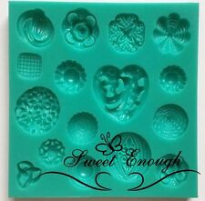 Sugarcraft Mould Rosettes Heart Vintage Buttons cake decoration mold Silicone