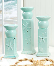 Set Of 3 Beach Coastal Seashell Candle Holder Nautical Starfish Candle Holders