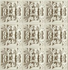 Wallpaper Gray & White Acanthus Leaf SMOOTH Faux Plaster Wall or Ceiling Tile