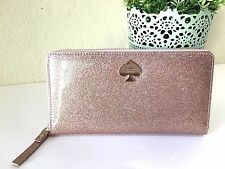 NWT Kate Spade Glitter Bug Lacey Zip Wallet Neda Clutch Rosegold
