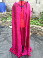 wine coloured crushed velvet cloak with hood