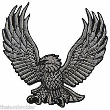 Eagle Silver American Flying Indian Tattoo Biker Motorcycle Iron-On Patches I014