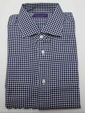 NEW Ralph Lauren Purple Label Cotton Navy Gingham Button Down Dress Shirt 16