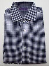 NEW Ralph Lauren Purple Label Cotton Navy Gingham Button Down Dress Shirt 16