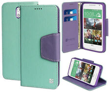 MINT PURPLE INFOLIO WALLET CREDIT CARD CASE COVER STAND FOR HTC DESIRE 610