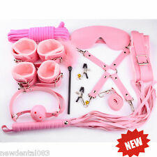 10pcs BDSM Bondage Restraints Set Kit Ball Gag Cuff Whip Collar Fetish Sex Toy*