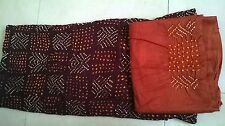 Maroon & dark Orange Bandhani/Bandhej,cotton silk dress material with Dupatta