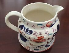 Gaudy Welsh Creamer with plate-Oyster Pattern