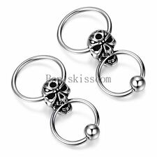 Silver Tone Stainless Steel Mens Huggie Hinged Hoop Skull Stud Earrings Set