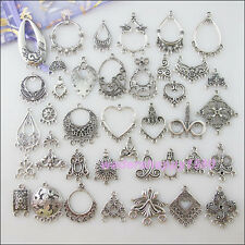 40Pcs Antiqued Silver Flower Heart Oval Teardrop etc.Mixed Charms Connectors