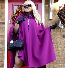 LUXE DESIGNER FOX FUR & CASHMERE WOOL 98cm Long CAPE COAT FABULOUS!! RRP £990