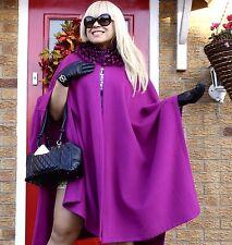 Luxe Diseñador Piel De Zorro & Lana de Cachemira Abrigo Largo con Capa 98cm Fabuloso!!! RRP £ 990