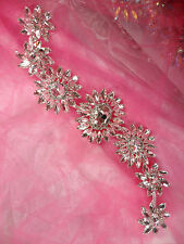 N75 Rhinestone Applique Crystal w/ Silver Setting Embellishment Metal Back 12""