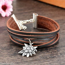 BD Fashion Jewelry Silver Tone Edelweiss Multilayer Leather Pendant Bracelet